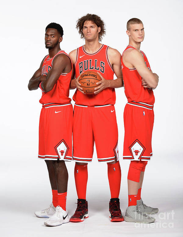 Media Day Poster featuring the photograph Lauri Markkanen, Bobby Portis, and Robin Lopez by Randy Belice
