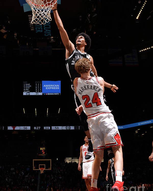 Chicago Bulls Poster featuring the photograph Lauri Markkanen, Jarrett Allen, and Drazen Petrovic by Jesse D. Garrabrant