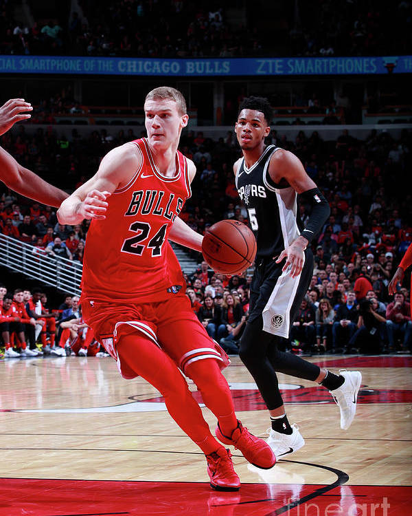 Chicago Bulls Poster featuring the photograph Lauri Markkanen by Jeff Haynes