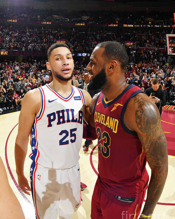Nba Pro Basketball Poster featuring the photograph Lebron James and Ben Simmons by Jesse D. Garrabrant