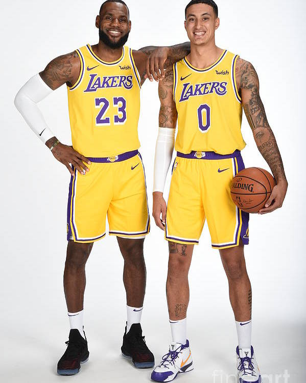 Media Day Poster featuring the photograph Lebron James and Kyle Kuzma by Andrew D. Bernstein