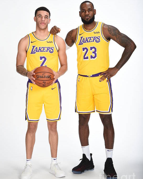 Media Day Poster featuring the photograph Lonzo Ball and Lebron James by Andrew D. Bernstein