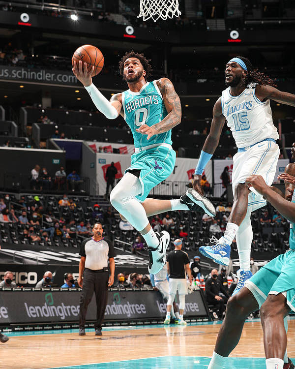 Nba Pro Basketball Poster featuring the photograph Los Angeles Lakers v Charlotte Hornets by Kent Smith