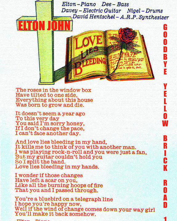 Rock And Roll Poster featuring the mixed media Love lies bleeding 1973 by David Lee Thompson