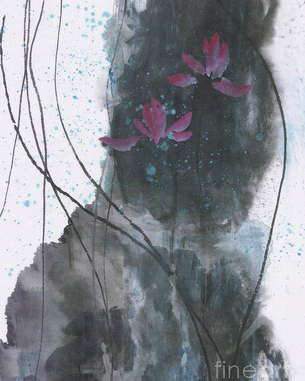 Lotus Emerged Out Of The Sludge Poster featuring the painting Lovely Lotus by Mui-Joo Wee
