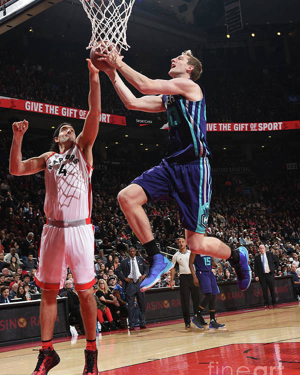 Nba Pro Basketball Poster featuring the photograph Luis Scola and Cody Zeller by Ron Turenne
