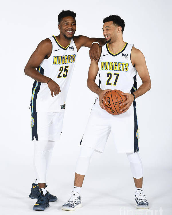Media Day Poster featuring the photograph Malik Beasley and Jamal Murray by Garrett Ellwood