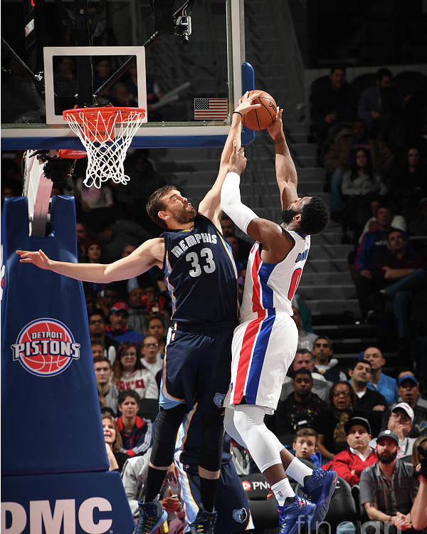 Nba Pro Basketball Poster featuring the photograph Marc Gasol and Andre Drummond by Chris Schwegler