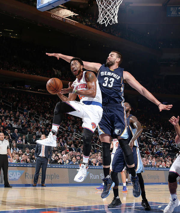 Nba Pro Basketball Poster featuring the photograph Marc Gasol and Derrick Rose by Nathaniel S. Butler