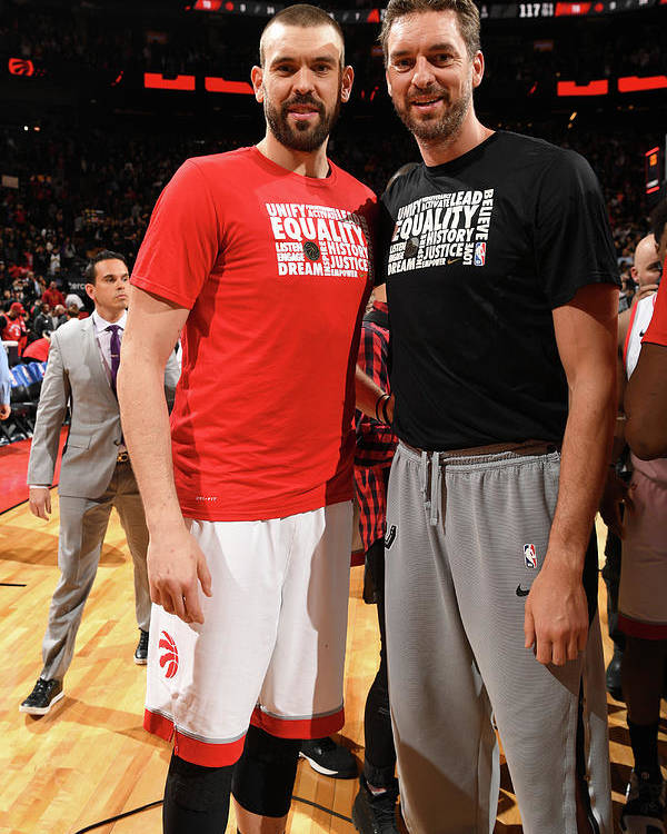 Nba Pro Basketball Poster featuring the photograph Marc Gasol and Pau Gasol by Ron Turenne