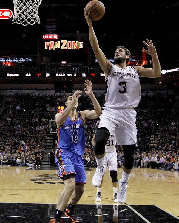 Playoffs Poster featuring the photograph Marco Belinelli and Steven Adams by Chris Covatta