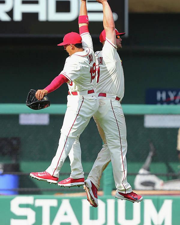 St. Louis Cardinals Poster featuring the photograph Matt Holliday and Jon Jay by Dilip Vishwanat