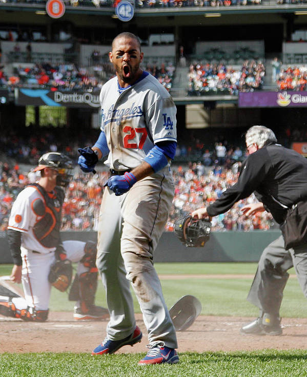 American League Baseball Poster featuring the photograph Matt Kemp by Rob Carr