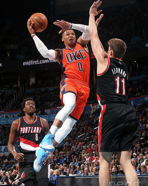 Meyers Leonard Poster featuring the photograph Meyers Leonard and Russell Westbrook by Layne Murdoch