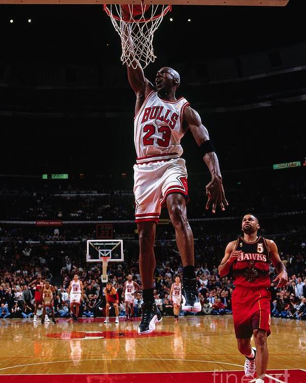 Chicago Bulls Poster featuring the photograph Michael Jordan by Nathaniel S. Butler