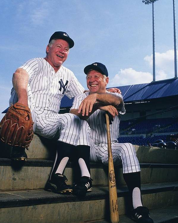 1980-1989 Poster featuring the photograph Mickey Mantle and Whitey Ford by Ronald C. Modra/sports Imagery