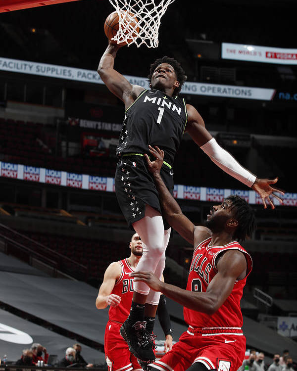 Nba Pro Basketball Poster featuring the photograph Minnesota Timberwolves v Chicago Bulls by Jeff Haynes