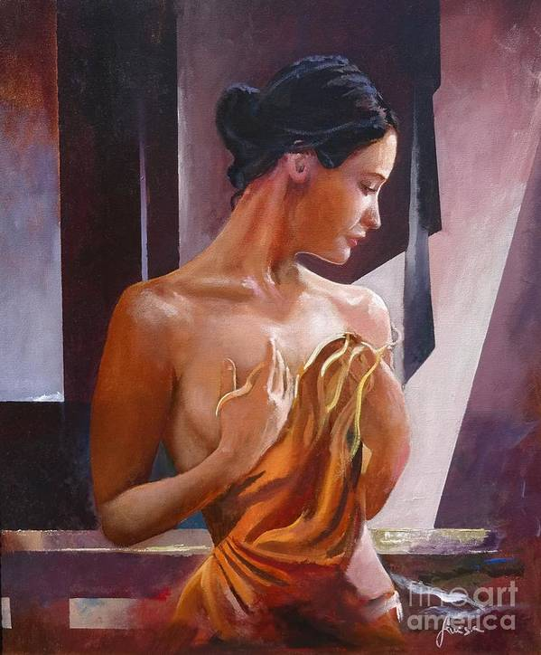 Female Figure Poster featuring the painting Morning Beauty by Sinisa Saratlic