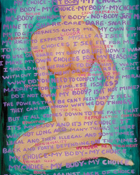 Body Poster featuring the painting My Body- My Choice by J Andrel