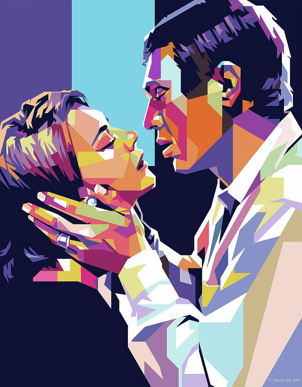 Natalie Poster featuring the digital art Natalie Wood And Steve Mcqueen by Stars on Art