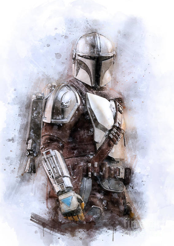 Star Wars Poster featuring the mixed media New Mando by Waldek Dabrowski