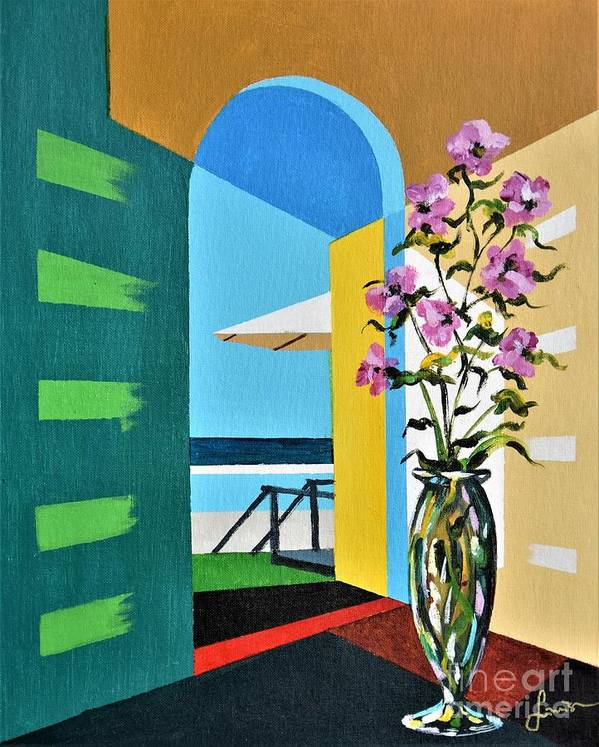 Still Life Poster featuring the painting Ocean View by Sinisa Saratlic