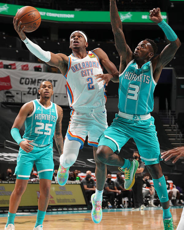 Nba Pro Basketball Poster featuring the photograph Oklahoma City Thunder v Charlotte Hornets by Kent Smith