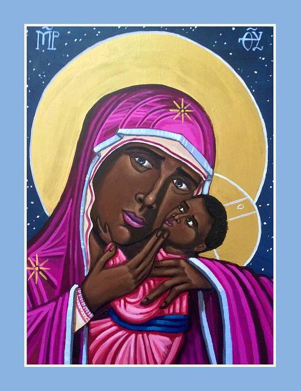 Poster featuring the painting Our Lady Mother of the Streets by Kelly Latimore