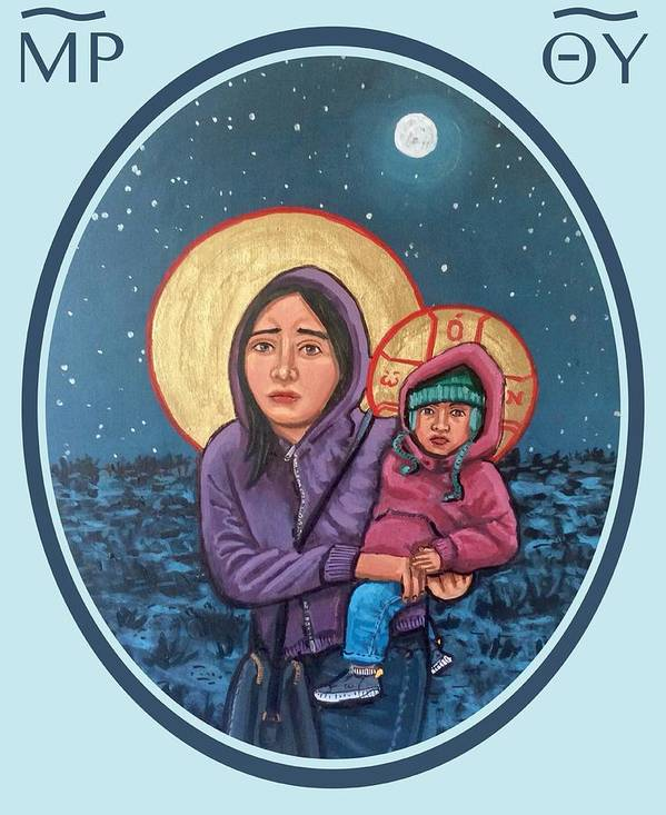Iconography Poster featuring the painting Our Lady of the Journey by Kelly Latimore