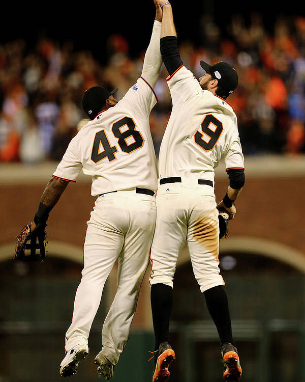 San Francisco Poster featuring the photograph Pablo Sandoval and Brandon Belt by Elsa