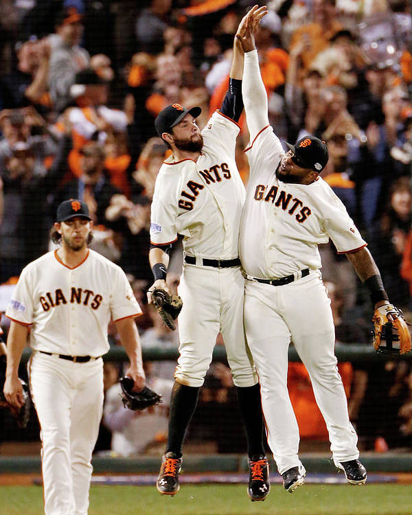 San Francisco Poster featuring the photograph Pablo Sandoval and Brandon Belt by Thearon W. Henderson