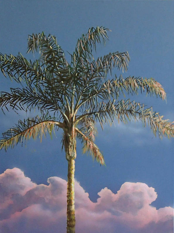 Palm Tree Poster featuring the painting PalmTree at Sunrise by Philip Fleischer