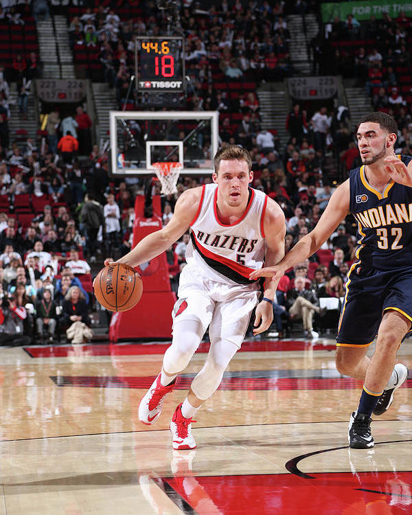 Nba Pro Basketball Poster featuring the photograph Pat Connaughton and Georges Niang by Sam Forencich