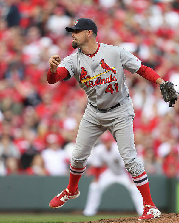 Great American Ball Park Poster featuring the photograph Pat Neshek by John Grieshop
