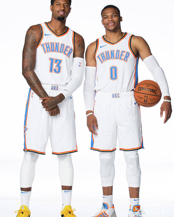 Media Day Poster featuring the photograph Paul George and Russell Westbrook by Nba Photos