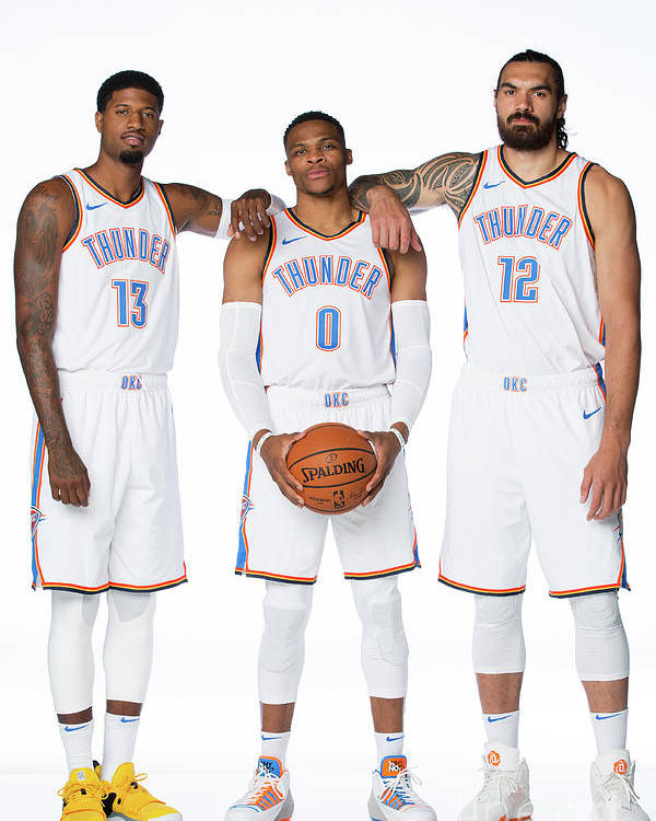 Media Day Poster featuring the photograph Paul George, Russell Westbrook, and Steven Adams by Nba Photos