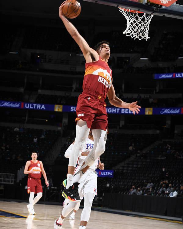 Nba Pro Basketball Poster featuring the photograph Philadelphia 76ers v Denver Nuggets by Garrett Ellwood