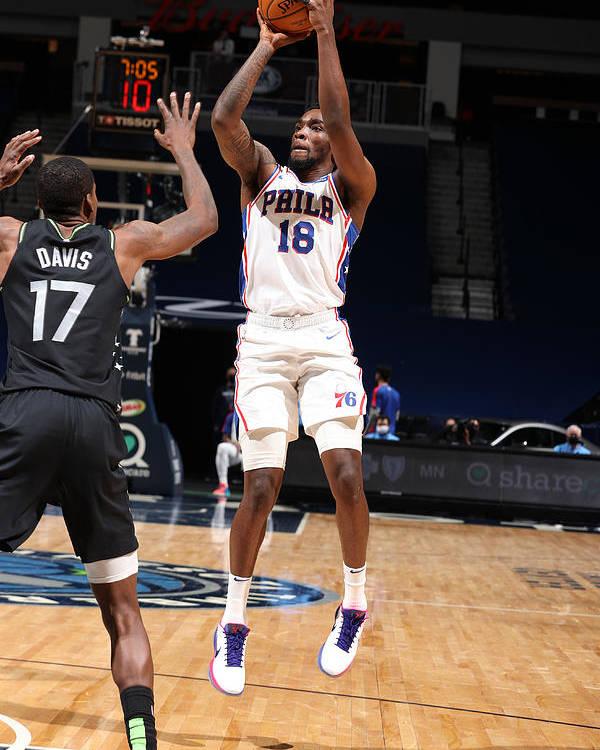 Nba Pro Basketball Poster featuring the photograph Philadelphia 76ers v Minnesota Timberwolves by David Sherman