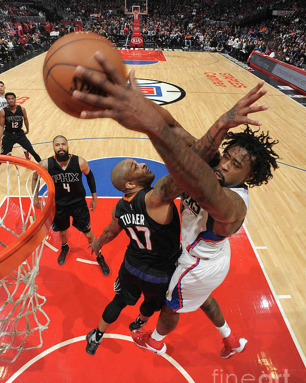 Nba Pro Basketball Poster featuring the photograph P.j. Tucker and Deandre Jordan by Andrew D. Bernstein