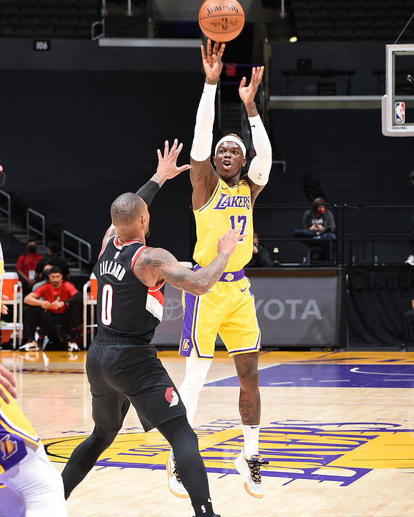 Nba Pro Basketball Poster featuring the photograph Portland Trail Blazers v LA Lakers by Adam Pantozzi
