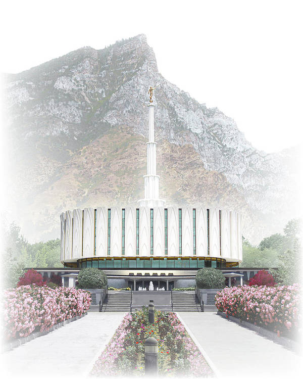Provo Poster featuring the digital art Provo Temple - Celestial Series by Brent Borup