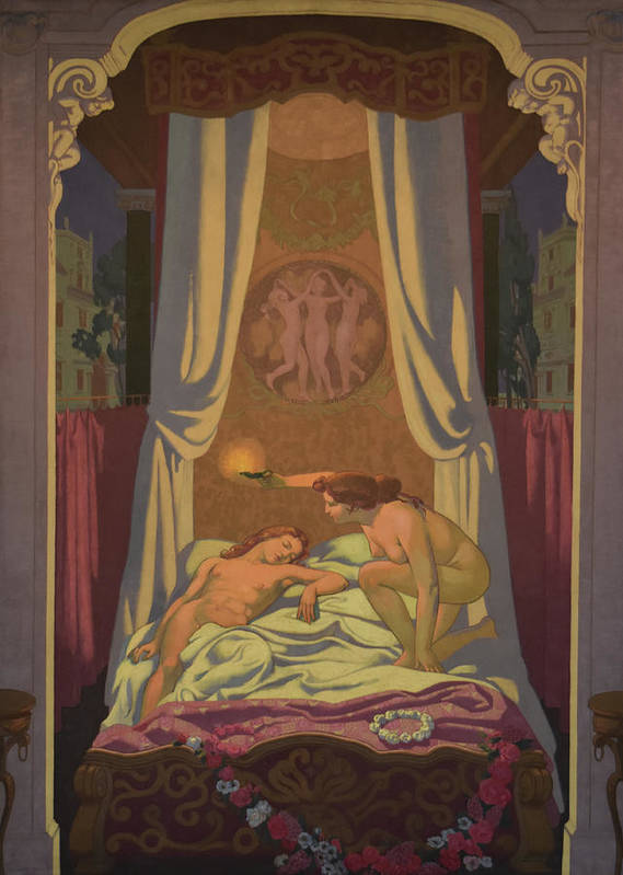1907 Commission Poster featuring the painting Psyche Discovers that Her Mysterious Lover is Eros by Maurice Denis