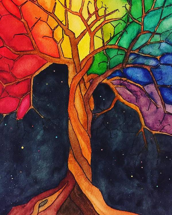 Rainbow Poster featuring the painting Rainbow Tree with Night Sky by Vonda Drees