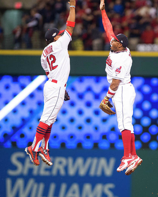 People Poster featuring the photograph Rajai Davis and Francisco Lindor by Michael Ivins/boston Red Sox