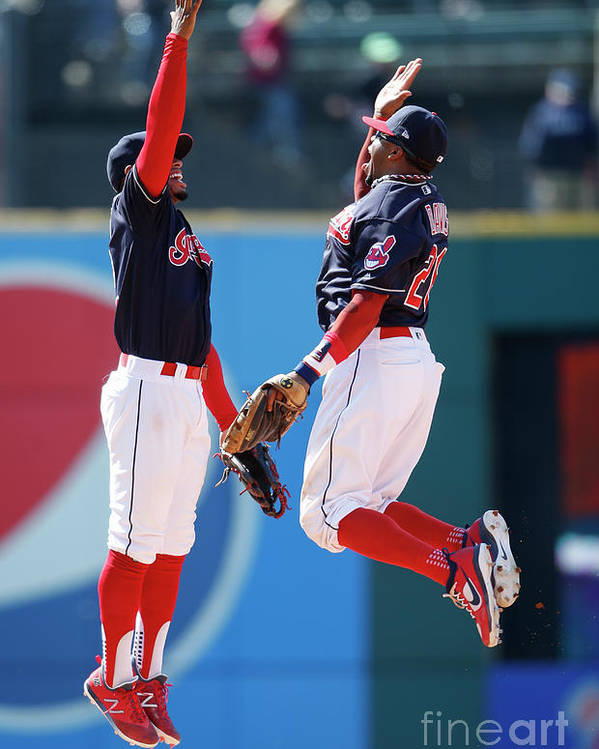 People Poster featuring the photograph Rajai Davis and Francisco Lindor by Ron Schwane