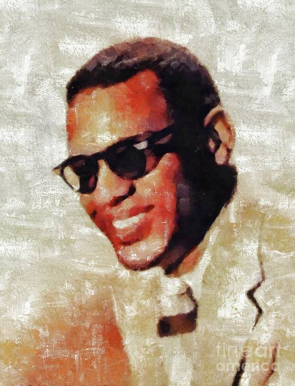 Ray Poster featuring the painting Ray Charles, Music Legend by Esoterica Art Agency
