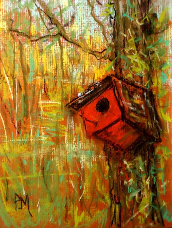 Birdhouse Poster featuring the pastel Red House by Pete Maier