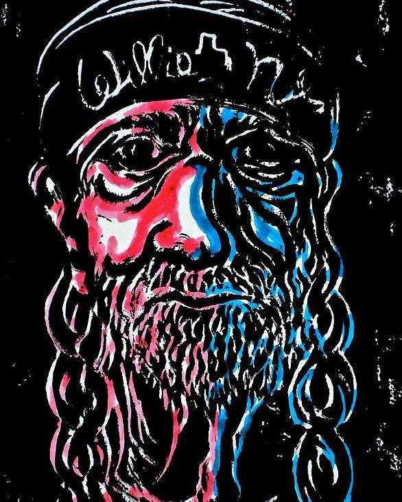 Willie Nelson Poster featuring the mixed media Americana Willie by Pete Maier