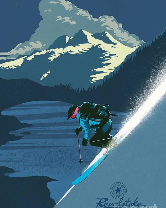 Revelstoke Poster featuring the painting Retro Revelstoke ski poster by Sassan Filsoof