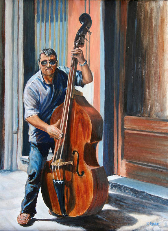 Cello Poster featuring the painting Riviera Rhythms- Cello Street Musician by Jennifer Lycke